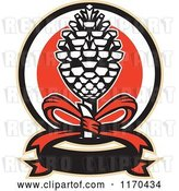 Vector Clip Art of Retro Thyrsus Pine Cone Staff with a Ribbon by Patrimonio