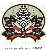 Vector Clip Art of Retro Thyrsus Pine Cone Staff with Grape Leaves over Green Rays by Patrimonio