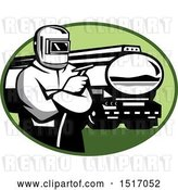 Vector Clip Art of Retro Tig Welder Holding a Torch by a Tanker Truck in an Oval by Patrimonio
