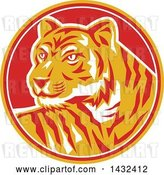 Vector Clip Art of Retro Tiger in a Yellow, Red and White Circle by Patrimonio