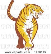 Vector Clip Art of Retro Tiger Prowling by Patrimonio