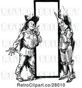Vector Clip Art of Retro Tin Guy and Scarecrow by a Sign by Prawny Vintage