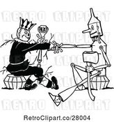 Vector Clip Art of Retro Tin Woodman and Scarecrow Shaking Hands by Prawny Vintage