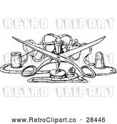 Vector Clip Art of Retro Tiny Man with Scissors and Thread by Prawny Vintage