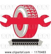 Vector Clip Art of Retro Tire and Spanner Wrench with Tread Marks by Patrimonio