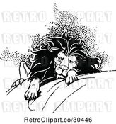 Vector Clip Art of Retro Tired Lion by Prawny Vintage