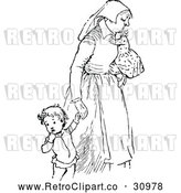 Vector Clip Art of Retro Tired Mother with Children by Prawny Vintage