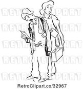 Vector Clip Art of Retro Tired Worker Guy and Lady with Time Sheets by Picsburg