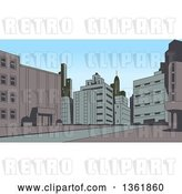 Vector Clip Art of Retro Toned City Street Scene by Clip Art Mascots