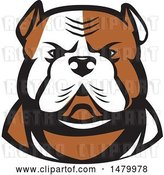 Vector Clip Art of Retro Tough American Bulldog Head in Tan and White by Patrimonio