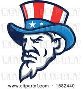 Vector Clip Art of Retro Tough Angry Uncle Sam Face with a Patriotic Top Hat by Patrimonio