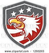 Vector Clip Art of Retro Tough Bald Eagle Head in a Gray Red and White American Flag Shield by Patrimonio