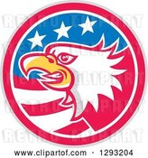 Vector Clip Art of Retro Tough Bald Eagle Head in a Gray Red White and Blue American Flag Circle by Patrimonio
