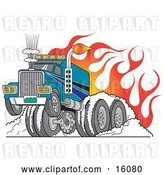 Vector Clip Art of Retro Tough Big Rig Hot Rod Truck Flaming and Smoking Its Rear Tires Doing a Burnout in Flames and a Wheelie by Andy Nortnik