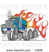Vector Clip Art of Retro Tough Big Rig Hot Rod Truck Flaming and Smoking Its Rear Tires Doing a Burnout in Flames and a Wheelie Clipart Illustration by Andy Nortnik