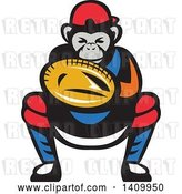 Vector Clip Art of Retro Tough Chimpanzee Monkey Baseball Player Catcher Crouching by Patrimonio