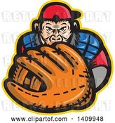 Vector Clip Art of Retro Tough Chimpanzee Monkey Baseball Player Catcher Holding out a Glove by Patrimonio