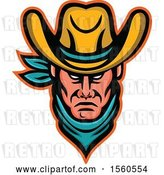 Vector Clip Art of Retro Tough Cowboy Wearing a Bandana and Hat by Patrimonio