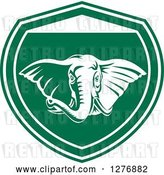 Vector Clip Art of Retro Tough Elephant in a Green and White Shield by Patrimonio