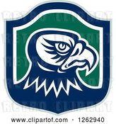 Vector Clip Art of Retro Tough Falcon Head in a Green Blue and White Shield by Patrimonio