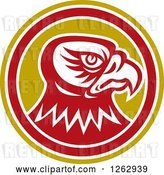 Vector Clip Art of Retro Tough Falcon Head in a Yellow White and Red Circle by Patrimonio