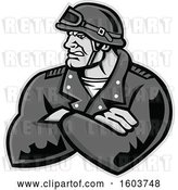 Vector Clip Art of Retro Tough Male Biker with Folded Arms and Riding Gear by Patrimonio