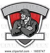 Vector Clip Art of Retro Tough Male Biker with Folded Arms and Riding Gear in a Shield by Patrimonio