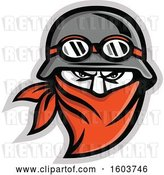 August 14th, 2018: Vector Clip Art of Retro Tough Male Outlaw Biker Wearing a Helmet and Bandana by Patrimonio