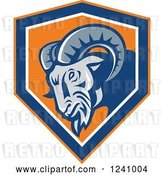 Vector Clip Art of Retro Tough Ram in a Blue and Orange Shield by Patrimonio