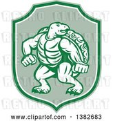 Vector Clip Art of Retro Tough Turtle in a Fighting Stance Inside a Green and White Shield by Patrimonio
