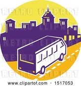 Vector Clip Art of Retro Tour Bus in a Town Skyline Circle by Patrimonio