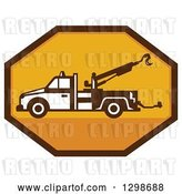 Vector Clip Art of Retro Tow Truck in a Yellow and Brown Octagon by Patrimonio