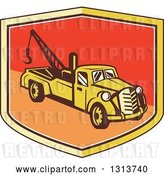 Vector Clip Art of Retro Tow Truck in a Yellow Red and Orange Shield by Patrimonio