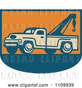 Vector Clip Art of Retro Tow Truck on Orange and Blue by Patrimonio