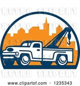 Vector Clip Art of Retro Tow Truck over a City by Patrimonio