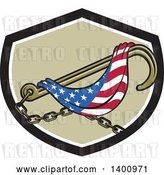 Vector Clip Art of Retro Towing J Hook and American Flag in a Black White and Tan Shield by Patrimonio