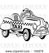 Vector Clip Art of Retro Toy Pedal Taxi Car by Andy Nortnik