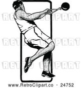 Vector Clip Art of Retro Track and Field Hammer Throw Athlete by Prawny Vintage