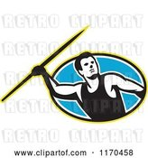 Vector Clip Art of Retro Track and Field Javelin Thrower over a Blue Oval by Patrimonio