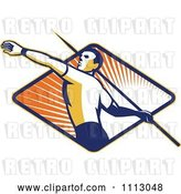 Vector Clip Art of Retro Track and Field Javelin Thrower over a Ray Diamond by Patrimonio