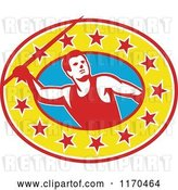 Vector Clip Art of Retro Track and Field Javelin Thrower over a Star Oval by Patrimonio