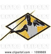 Vector Clip Art of Retro Track and Field Javelin Trower Holding a Spear over a Ray Diamond by Patrimonio