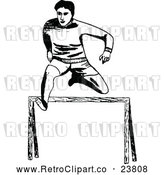 Vector Clip Art of Retro Track Athlete Leaping a Hurdle by Prawny Vintage