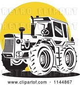 Vector Clip Art of Retro Tractor over a Yellow Circle by Patrimonio