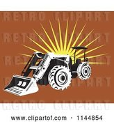 Vector Clip Art of Retro Tractor over Brown with a Burst by Patrimonio