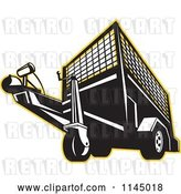Vector Clip Art of Retro Trailer Outlined in Yellow by Patrimonio