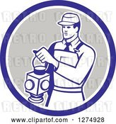 Vector Clip Art of Retro Train Signaler Worker Guy Holding a Lamp in a Blue White and Taupe Circle by Patrimonio