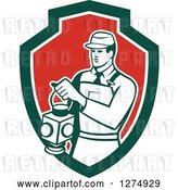 Vector Clip Art of Retro Train Signaler Worker Guy Holding a Lamp in a Green White and Red Shield by Patrimonio