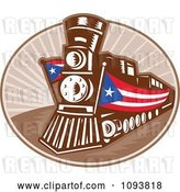 Vector Clip Art of Retro Train with American Banners by Patrimonio