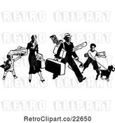 Vector Clip Art of Retro Traveling Family with Luggage by BestVector